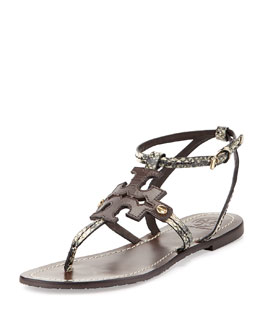 Tory Burch Phoebe Snake-Embossed Flat Sandal, Brown