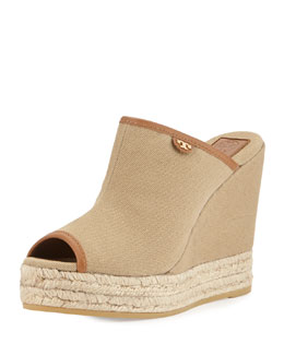 Tory Burch Canvas Slip-On Wedge Mule, Tan/Royal