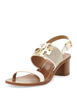 Tory Burch Lowell Logo City Sandal, Natural/Ivory