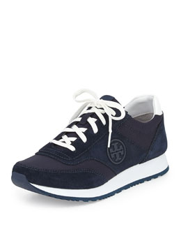 Tory Burch Suede Logo Trainer, Tory Navy