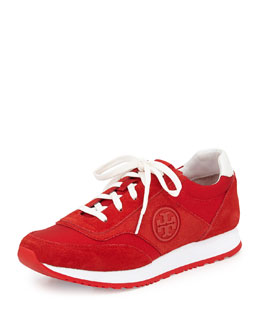Tory Burch Suede Logo Trainer, Red