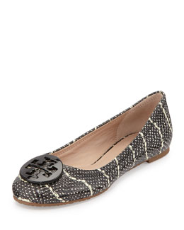 Tory Burch Reva Snake-Embossed Leather Flat, Black/Ivory