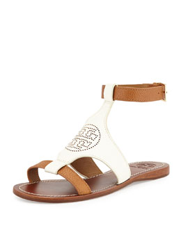 Tory Burch Perforated Logo Leather Sandal, Ivory/Royal Tan