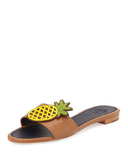 Tory Burch Pineapple Leather Flat Sandal, Royal Tan