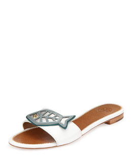 Tory Burch Fish Flat Sandal Slide, White