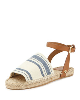 Tory Burch Stretch-Canvas Espadrille Sandal, Awning Ivory/Blue