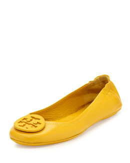 Tory Burch Minnie Leather Travel Flat, Golden Sun