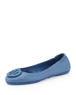 Tory Burch Minnie Leather Travel Flat, Laguna