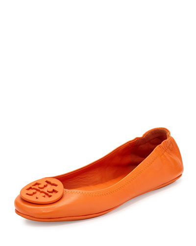 Packable Leather Travel Flat, Tory Orange