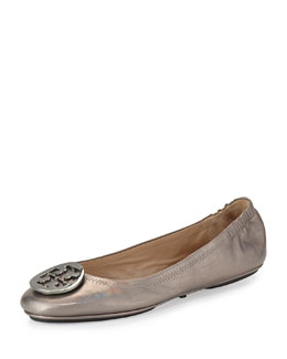 Tory Burch Packable Logo Ballet Flat, Gunmetal