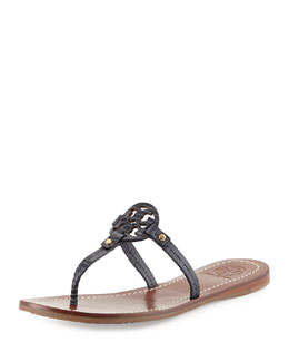 Tory Burch Mini Miller Lizard-Embossed Flat Sandal, Tory Navy