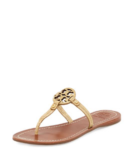 Tory Burch Mini Miller Snake-Embossed Flat Sandal, Trench Tan