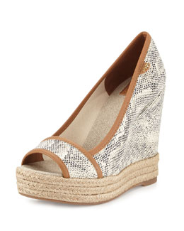 Tory Burch Majorca Snake-Print Wedge, Natural