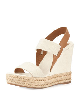 Tory Burch Two-Band Wedge Sandal, Royal Tan
