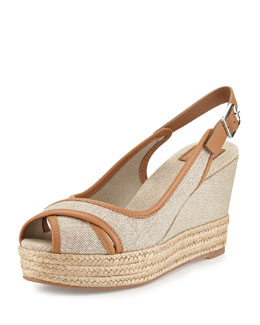 Tory Burch Majorca Peep-Toe Wedge, Royal Tan
