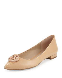 Tory Burch Patent Leather Pointy-Toe Logo Flat, Camelia Pink