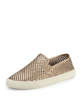 Tory Burch Jesse Perforated Slip-On Sneaker, Platinum