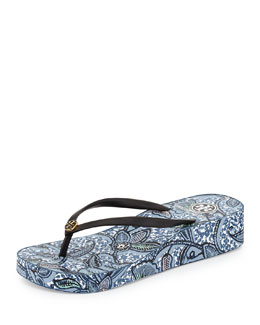 Tory Burch Thandie Printed Wedge Flip-Flop Sandal, Black/Ivory/Cape Floral