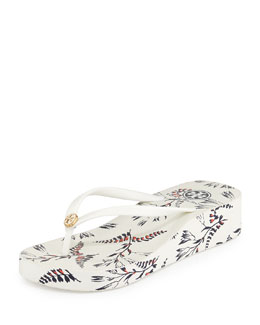 Tory Burch Thandie Printed Wedge Flip-Flop Sandal, Ivory/Cape Floral