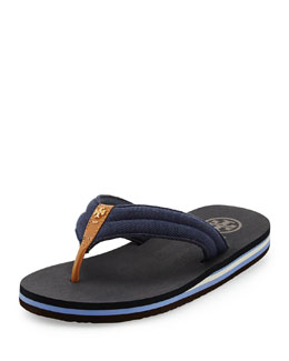Tory Burch Canvas Striped Flip-Flop, Royal