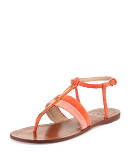 Tory Burch Bar Logo Thong Suede Sandal, Daiquiri/Poppy