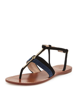 Tory Burch Bar Suede Logo Thong Sandal, Black