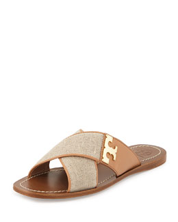Tory Burch Culver Canvas Crisscross Sandal, Natural/Blush