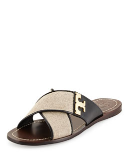 Tory Burch Culver Crisscross Flat Slide, Natural/Black