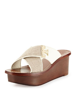 Tory Burch Culver Linen Crisscross Wedge, Natural/Ivory