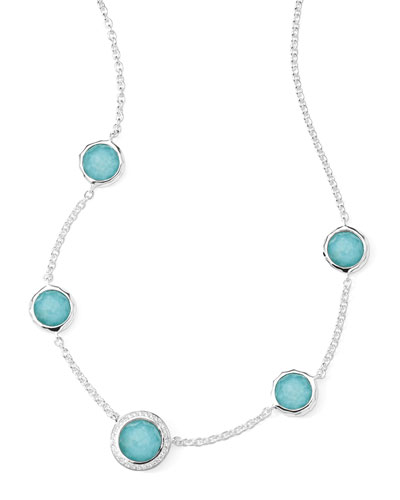 Stella Necklace in Turquoise Doublet & Diamonds 16-18""