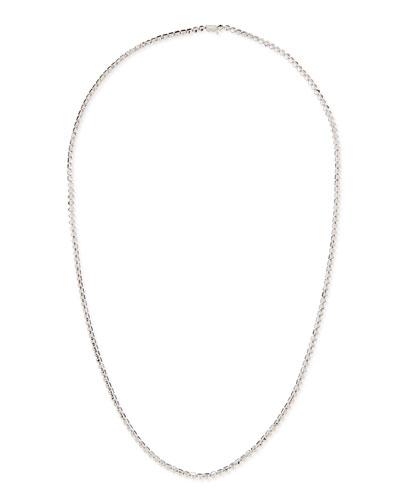 Silver Pyramid Link Necklace, 32""