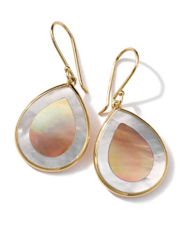 Ippolita 18K Gold Polished Rock Candy Mini Teardrop Earrings in Brown Shell/Mother-of-Pearl