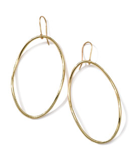 Ippolita 18k Gold Smooth Electroform Long Oval Earrings