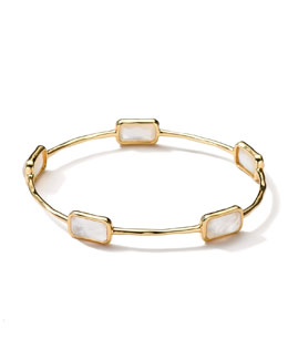 Ippolita 18k Gold Rock Candy Gelato 5-Stone Bangle, Mother-of-Pearl
