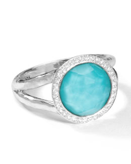 Ippolita Stella Mini Lollipop Ring in Turquoise Doublet with Diamonds, 0.15ctw