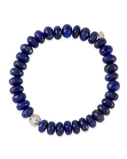 Sydney Evan 8mm Faceted Lapis Beaded Bracelet with 14k Gold/Diamond Ball Charm