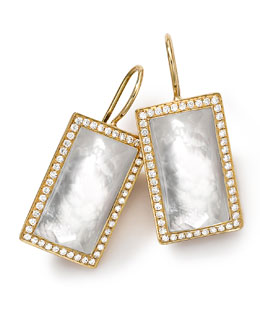 Ippolita 18k Gold Gelato Small Baguette Mother-of-Pearl Earrings with Diamonds