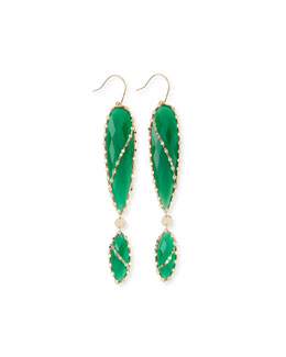 Lana Envy Green Onyx Double-Drop Earrings