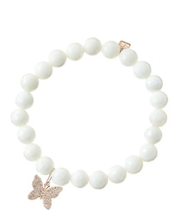 Sydney Evan 8mm Faceted White Agate Beaded Bracelet with 14k Rose Gold/Diamond Butterfly Charm (Made to Order)