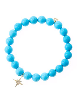 Sydney Evan Blue Turquoise Round Beaded Bracelet with 14k Gold/Diamond Small Starburst Charm (Made to Order)