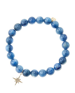 Sydney Evan Kyanite Round Beaded Bracelet with 14k Gold/Diamond Small Starburst Charm (Made to Order)
