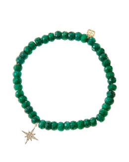 Sydney Evan Emerald Rondelle Beaded Bracelet with 14k Gold/Diamond Small Starburst Charm (Made to Order)