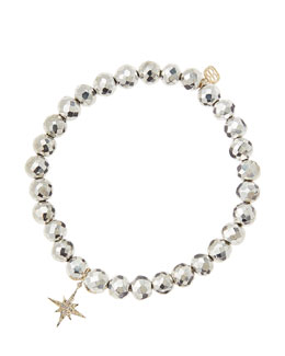 Sydney Evan Silver Pyrite Beaded Bracelet with 14k Gold/Diamond Small Starburst Charm (Made to Order)