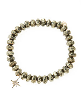 Sydney Evan Champagne Pyrite Beaded Bracelet with 14k Gold/Diamond Small Starburst Charm (Made to Order)