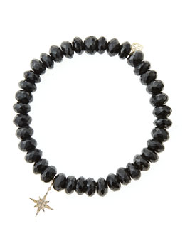 Sydney Evan Black Spinel Beaded Bracelet with 14k Gold/Diamond Small Starburst Charm (Made to Order)