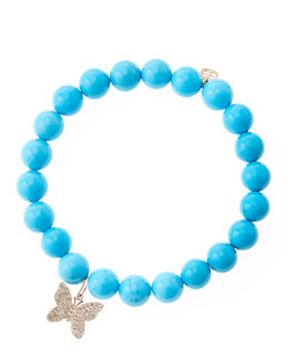 Sydney Evan Blue Turquoise Round Beaded Bracelet with 14k Gold/Diamond Small Butterfly Charm (Made to Order)