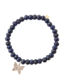 Sydney Evan Blue Sapphire Rondelle Beaded Bracelet with 14k Gold/Diamond Small Butterfly Charm (Made to Order)