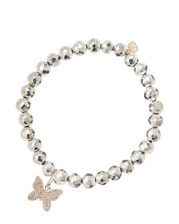 Sydney Evan Silver Pyrite Beaded Bracelet with 14k Gold/Diamond Small Butterfly Charm (Made to Order)