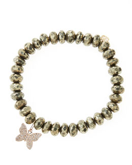 Sydney Evan Champagne Pyrite Beaded Bracelet with 14k Gold/Diamond Small Butterfly Charm (Made to Order)