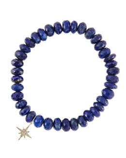 Sydney Evan 8mm Faceted Lapis Beaded Bracelet with 14k Gold/Diamond Small Starburst Charm (Made to Order)